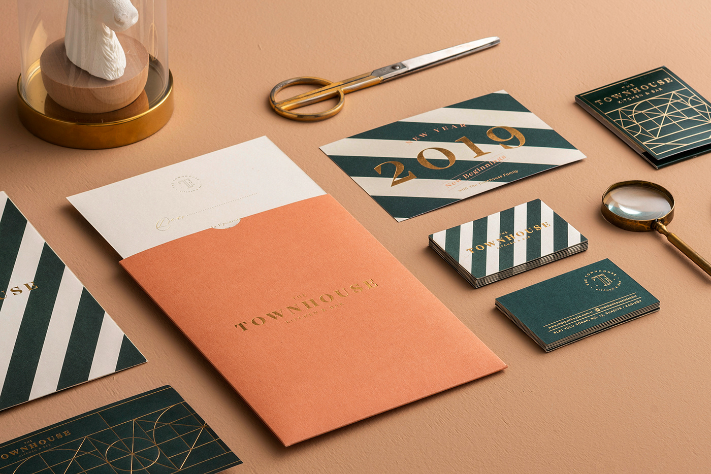 restaurant branding  logo Townhouse stripes green gold design graphicdesign typography