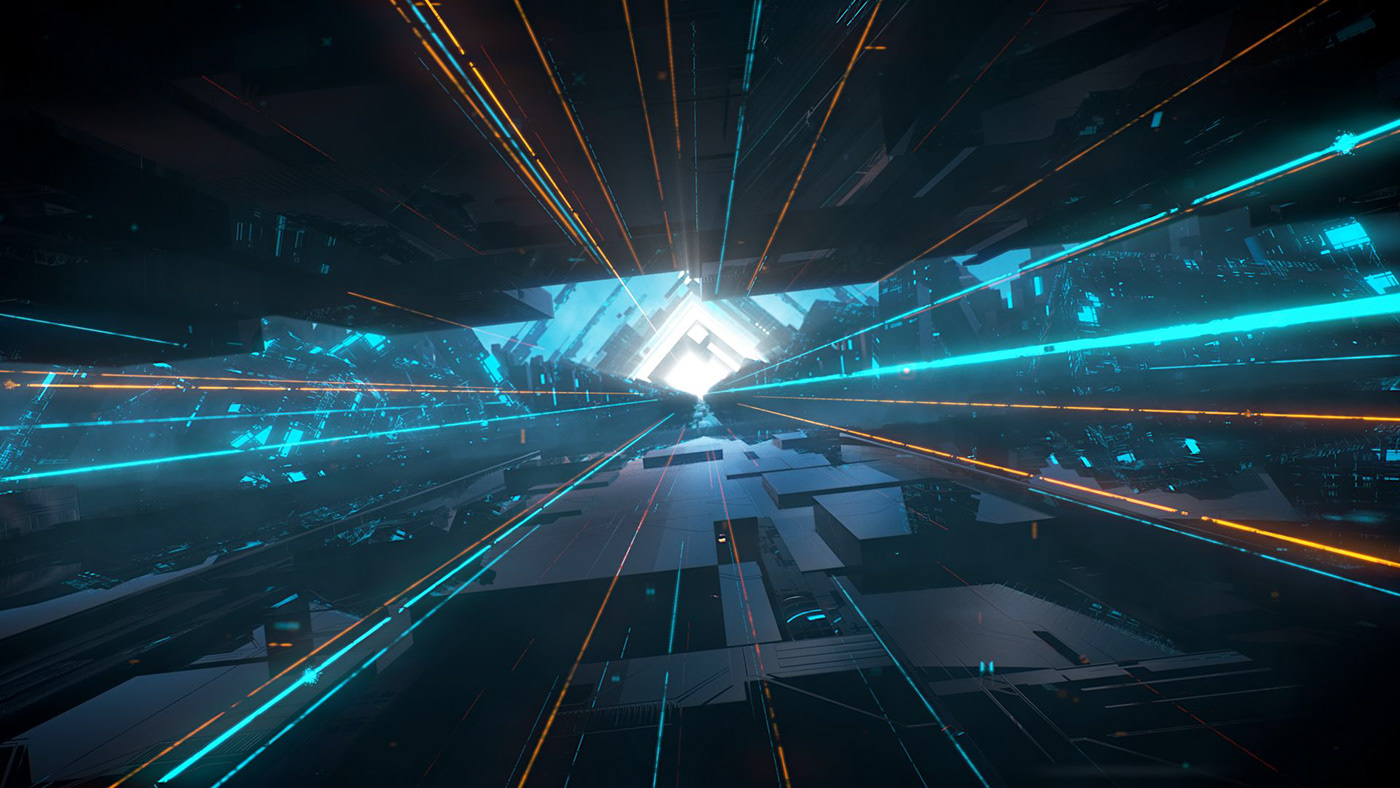 3D ash thorp fly cam FUI futuristic glossy holographic motion design neon title design