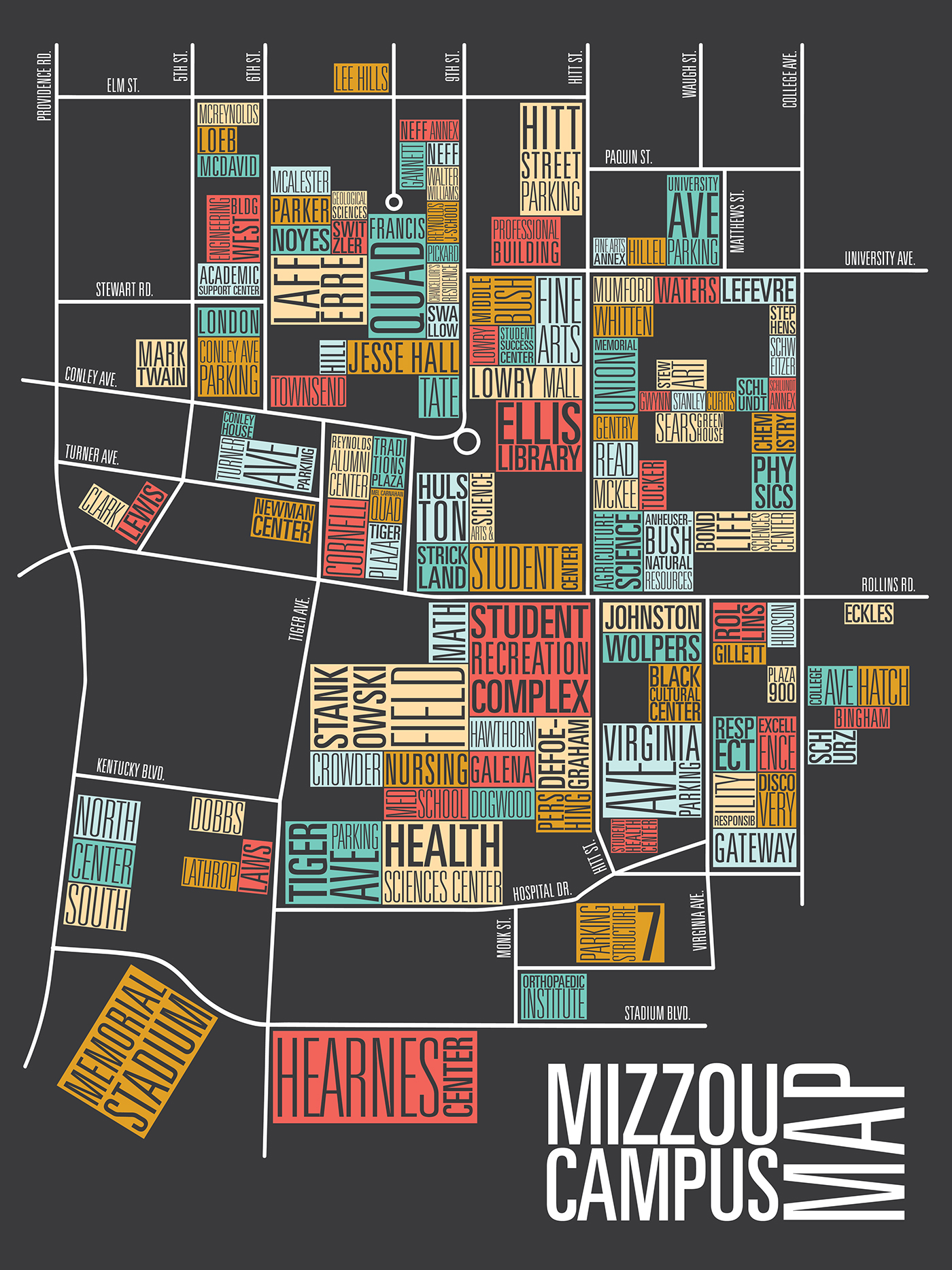 mizzou campus map on behance