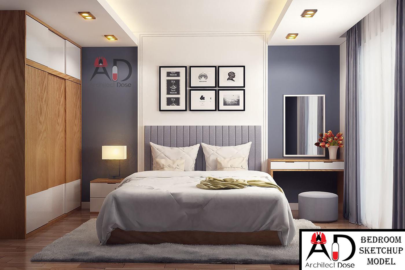 Renders 3d For Master Bedroom Project: Bedroom Sketchup Model On Behance