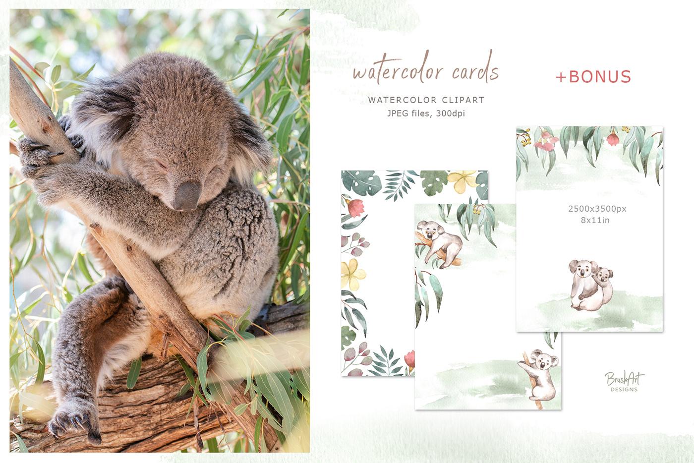 illustration.Koala Watercolor .Cute Animal Illustration.Australia Flower.eucalyptus leaves Animal graphics Koala Animals Clipart