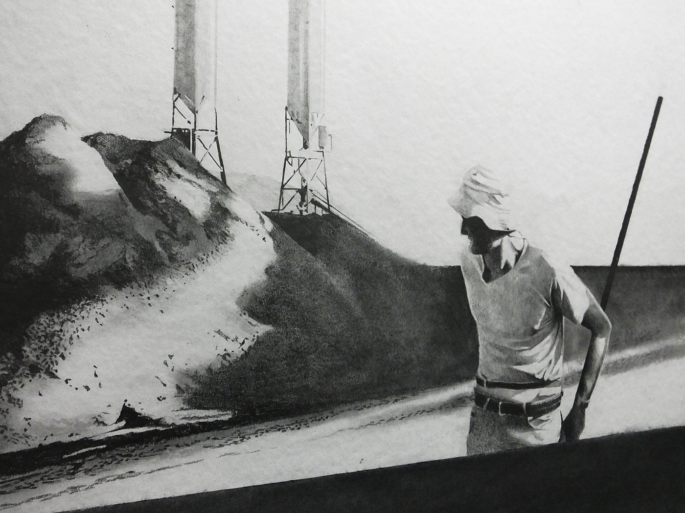 pencil Human Figure Realism Latin America construction black and white contemporary art