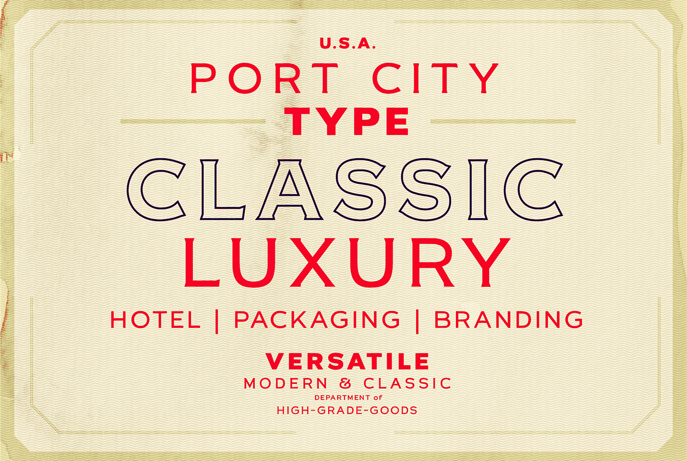 type type design typography   vintage Classic modern Port City font font design Label