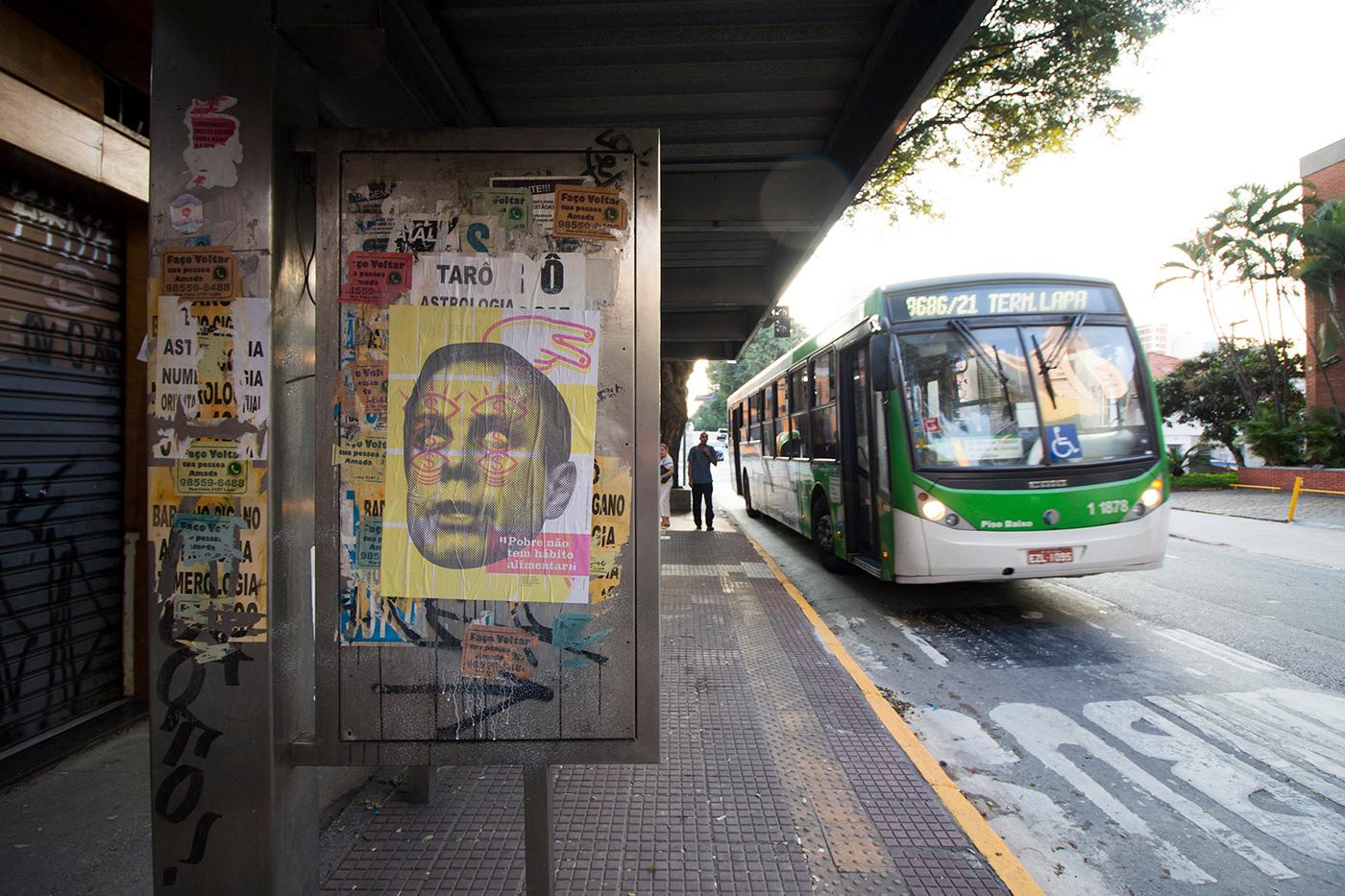 wheatpaste poster cartaz politics Brasil lambelambe Politica Political Art afiche print