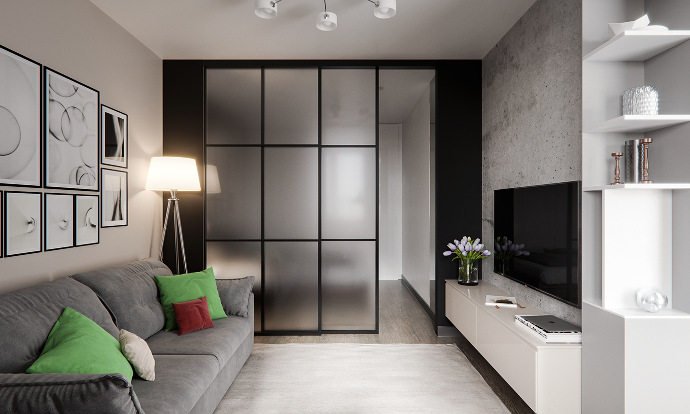 Studio apartment of 45 sq m on behance for Studio apartment office