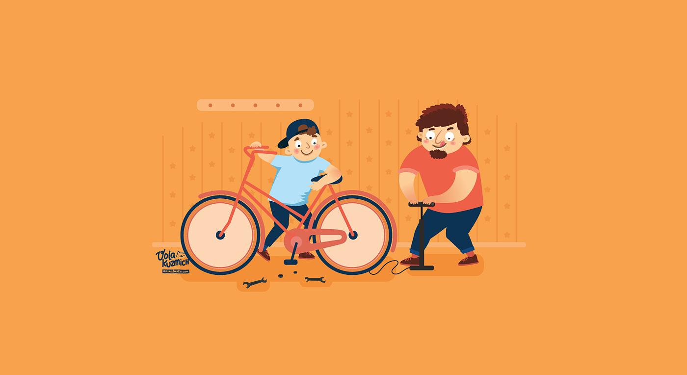 family relations fertility animation  motion illustrations cute colour children parents
