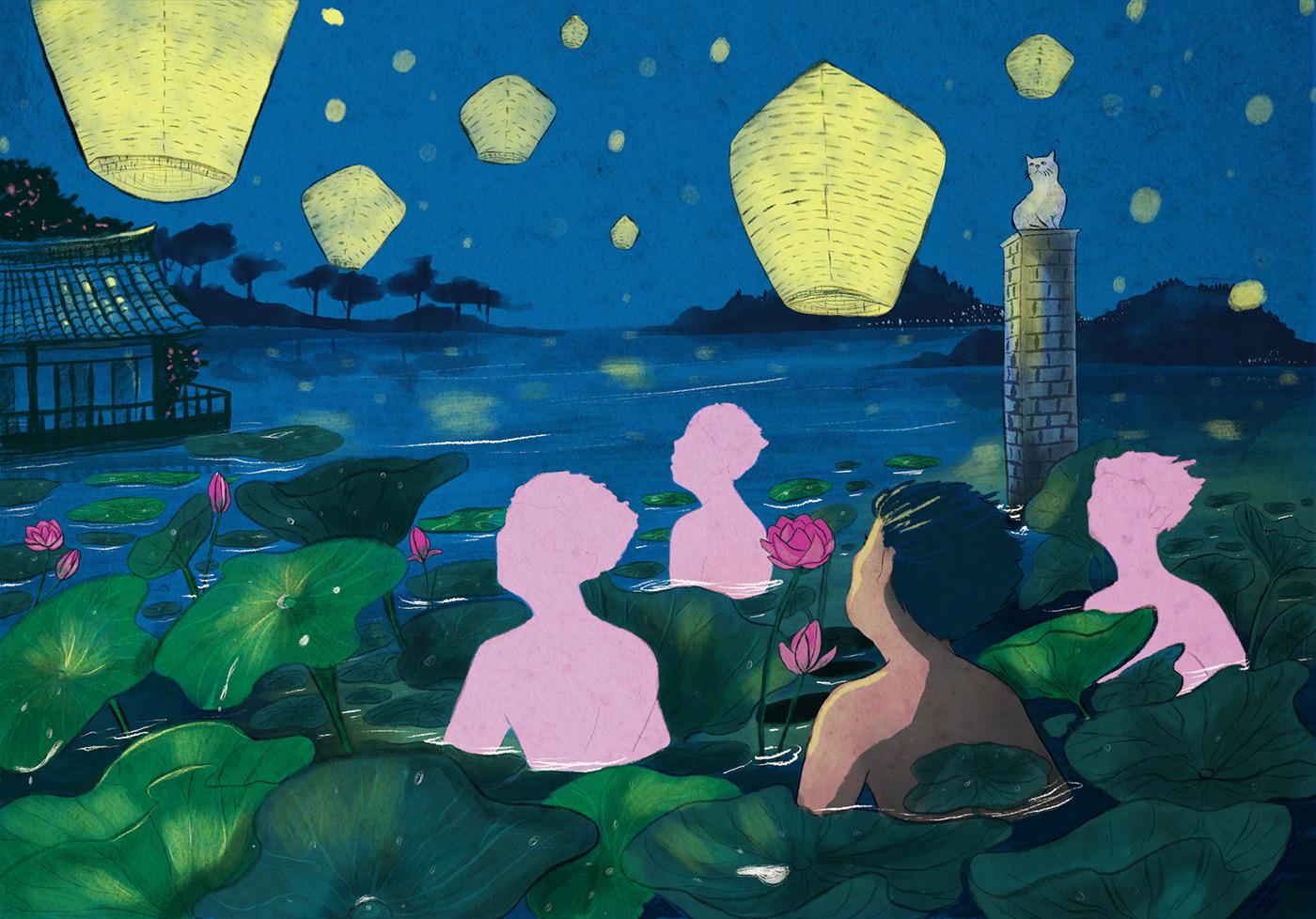 adobe festival fresco ILLUSTRATION  Illustrator Korea lantern nandita pal painting   South Korea