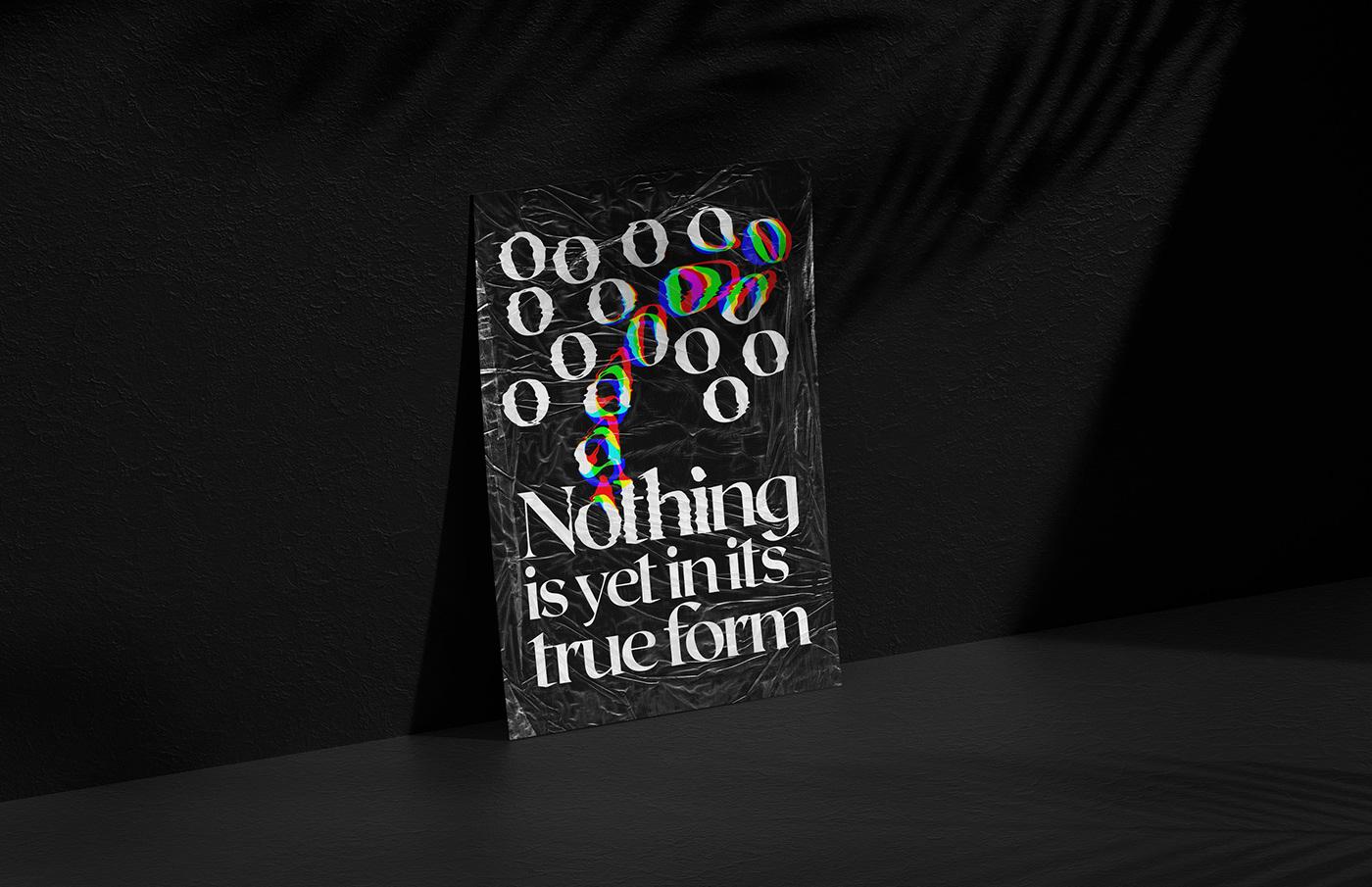 Glitch poster typhography Form generative glitch art nothing tipografia uruguay
