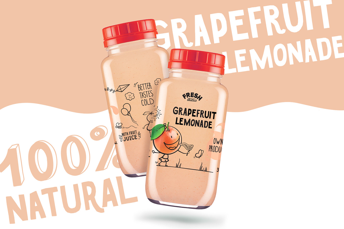 Label drink lemonade bottle fresh typography   beverage juice ILLUSTRATION  cartoon character