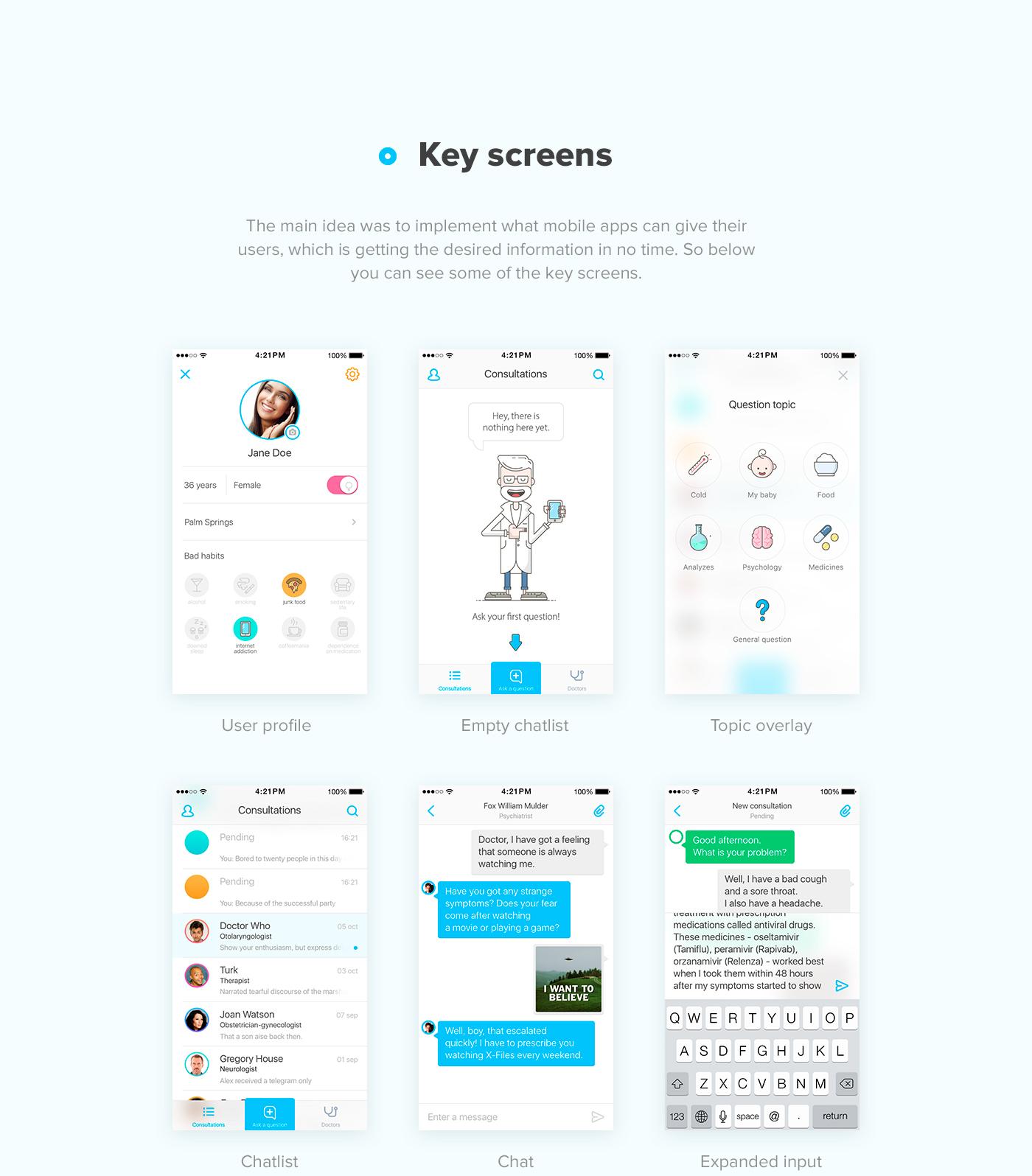 digital health medicine UI ux app ios minimal Chat doctor consultation medical Health