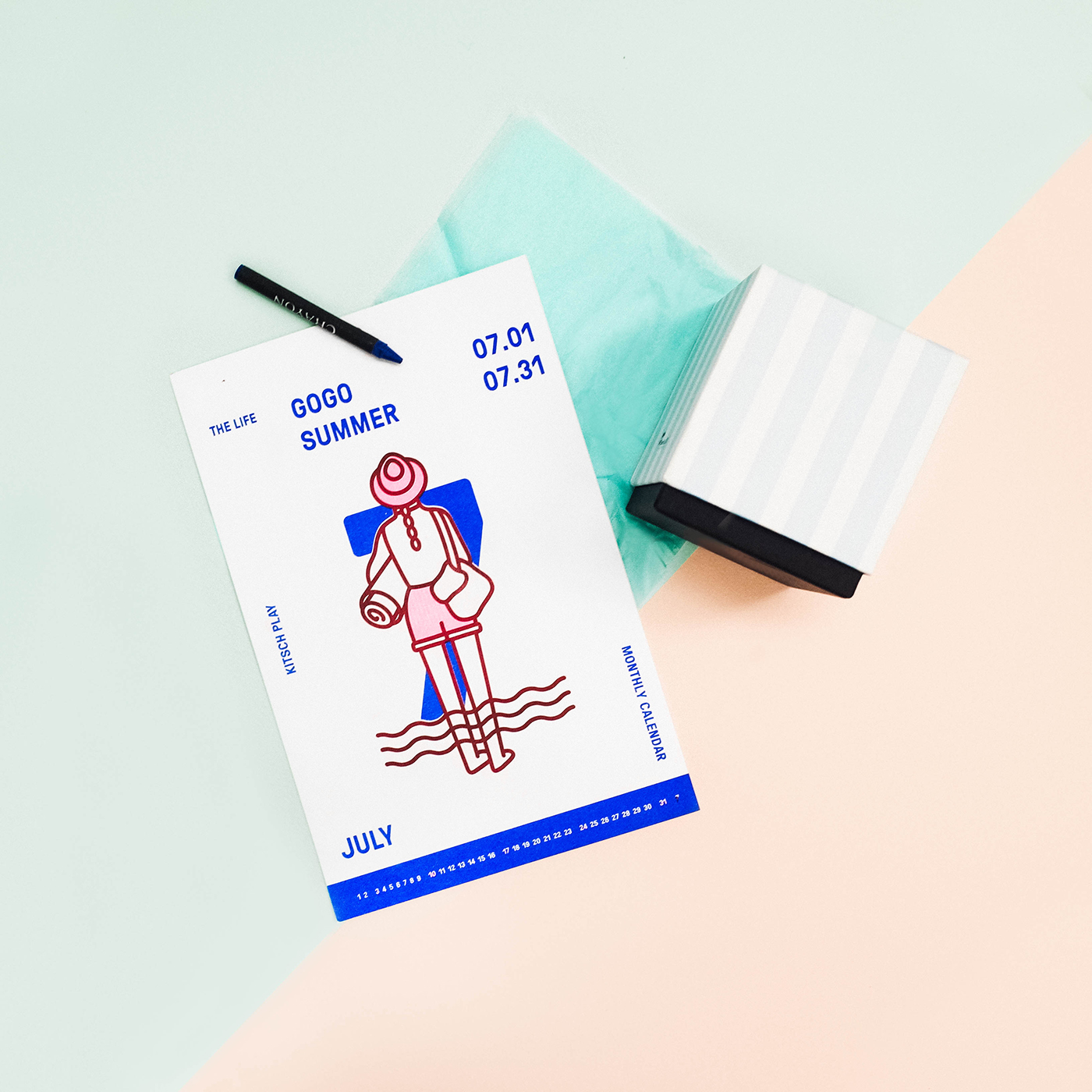 risograph illust editoral color calendar Character Riso Layout life people human pink blue green month