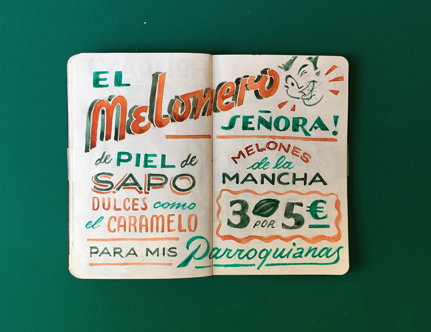 Image may contain: handwriting, poster and green