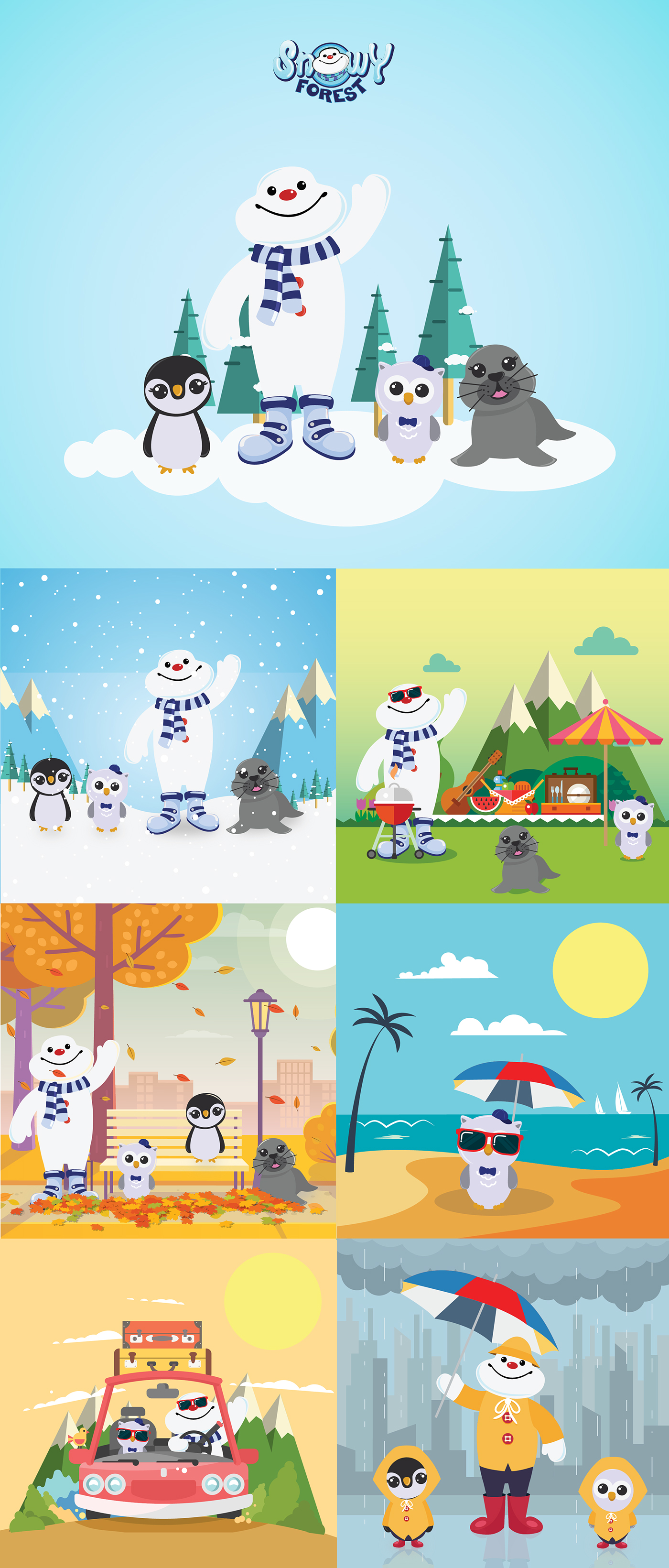 Snowy forest play area soft play area characters deisgn characters snow man