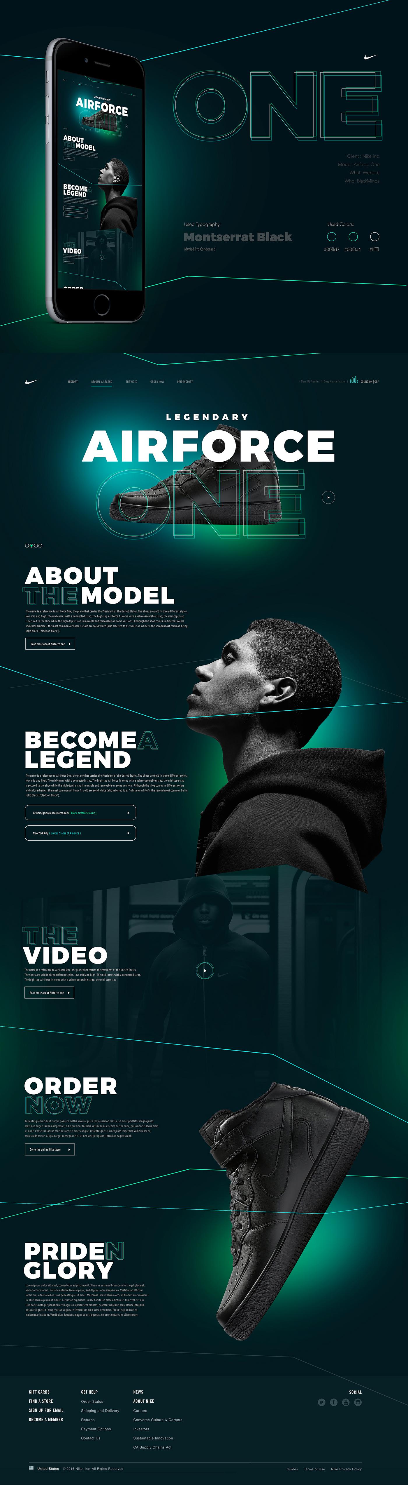 Web Layout Nike design poland dark minimal Dawidbogucki abstract direction