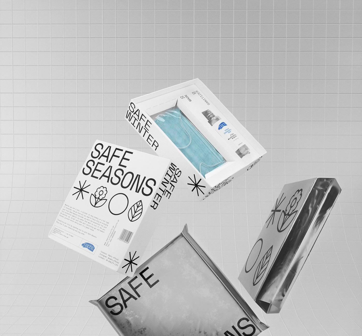 3D 3dmodeling CGI design kit mask sanitizer virus visual Packaging