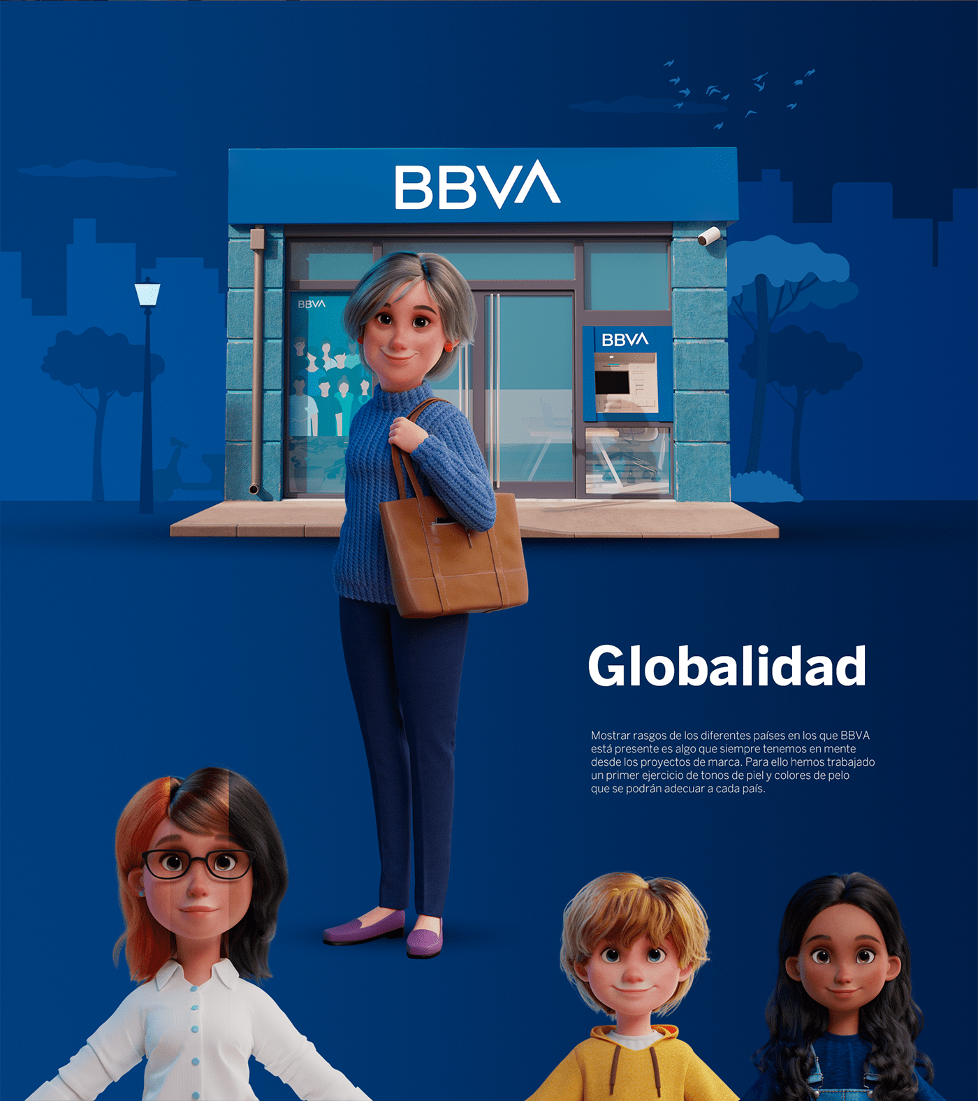3D Bank bbva characters banking branding  ILLUSTRATION  marketing