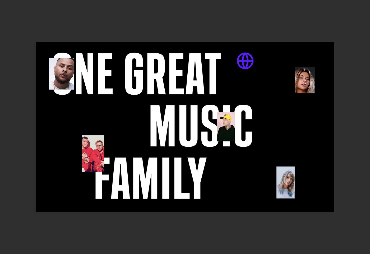 dark digital Interface music typography   Web Design  clean UI ux universal music