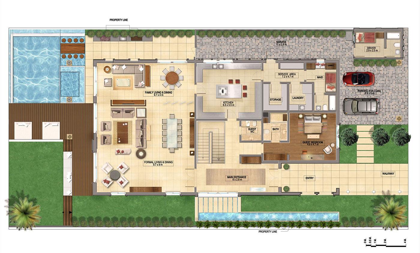 Plan render on behance for Rendered floor plan