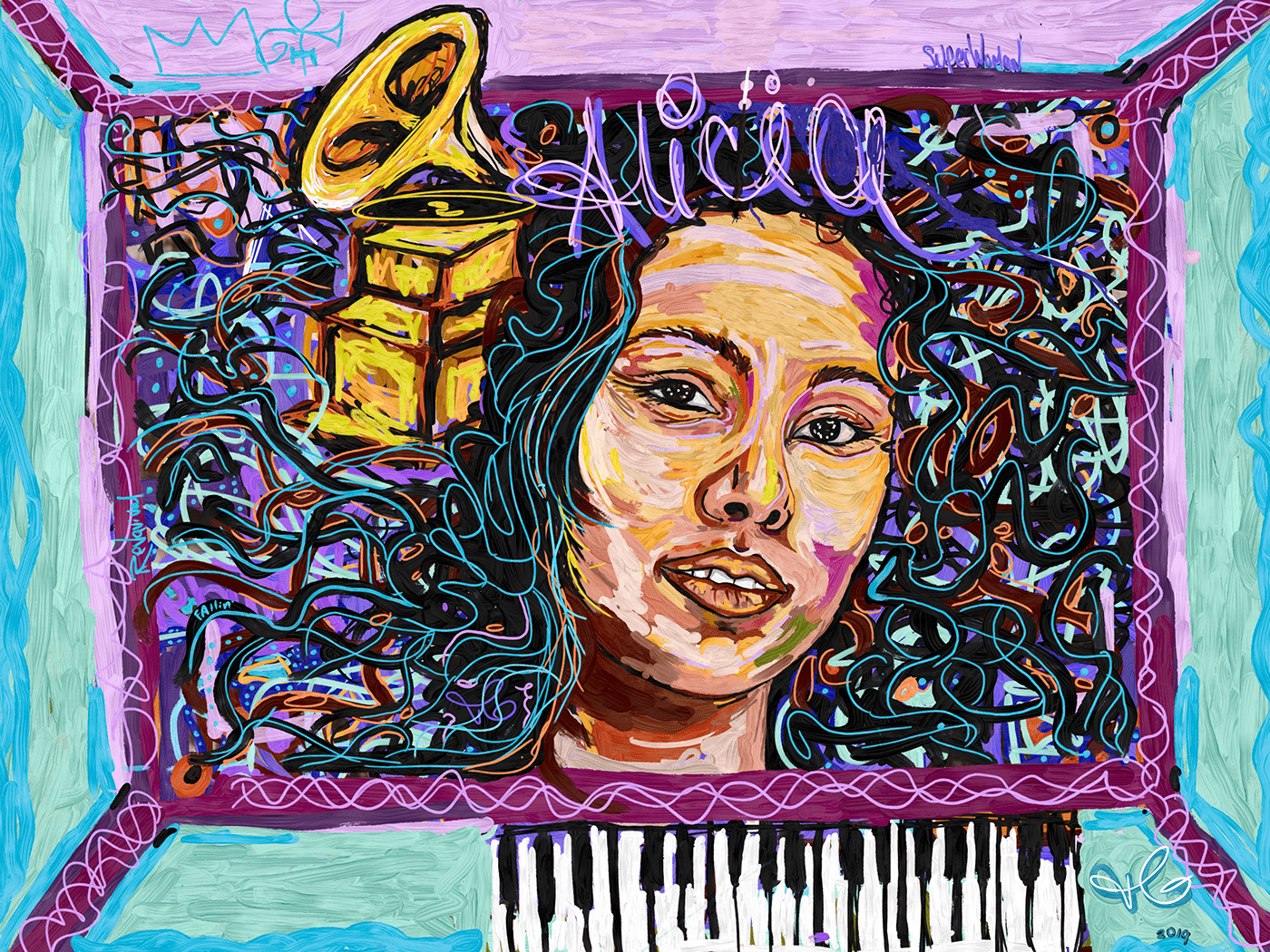 AdobeSketch Drawing  Alicia keys grammys Singer