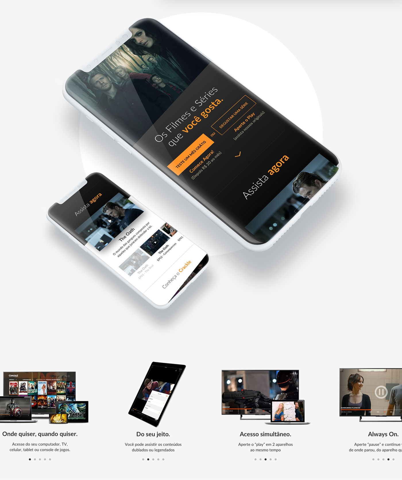crackle Sony Streaming grids Responsive mobile UI/UX Interface user experience user interface