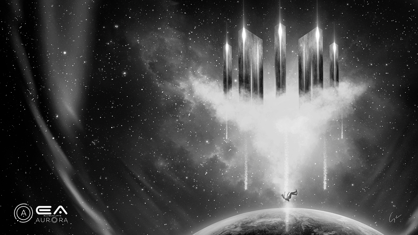 3D abstract artworks aurora black c4d illustrations Matte Painting Sci Fi White