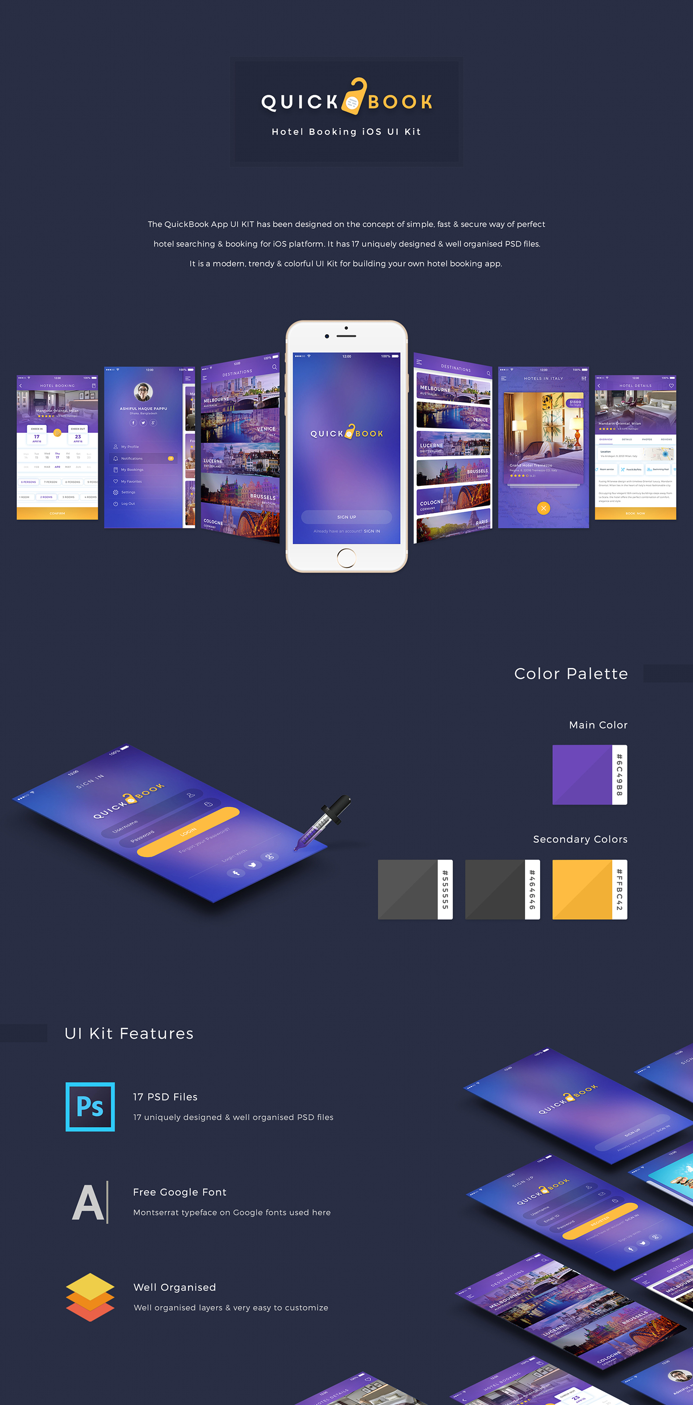 Quickbook hotel booking ios ui kit on behance for Hotel booking design