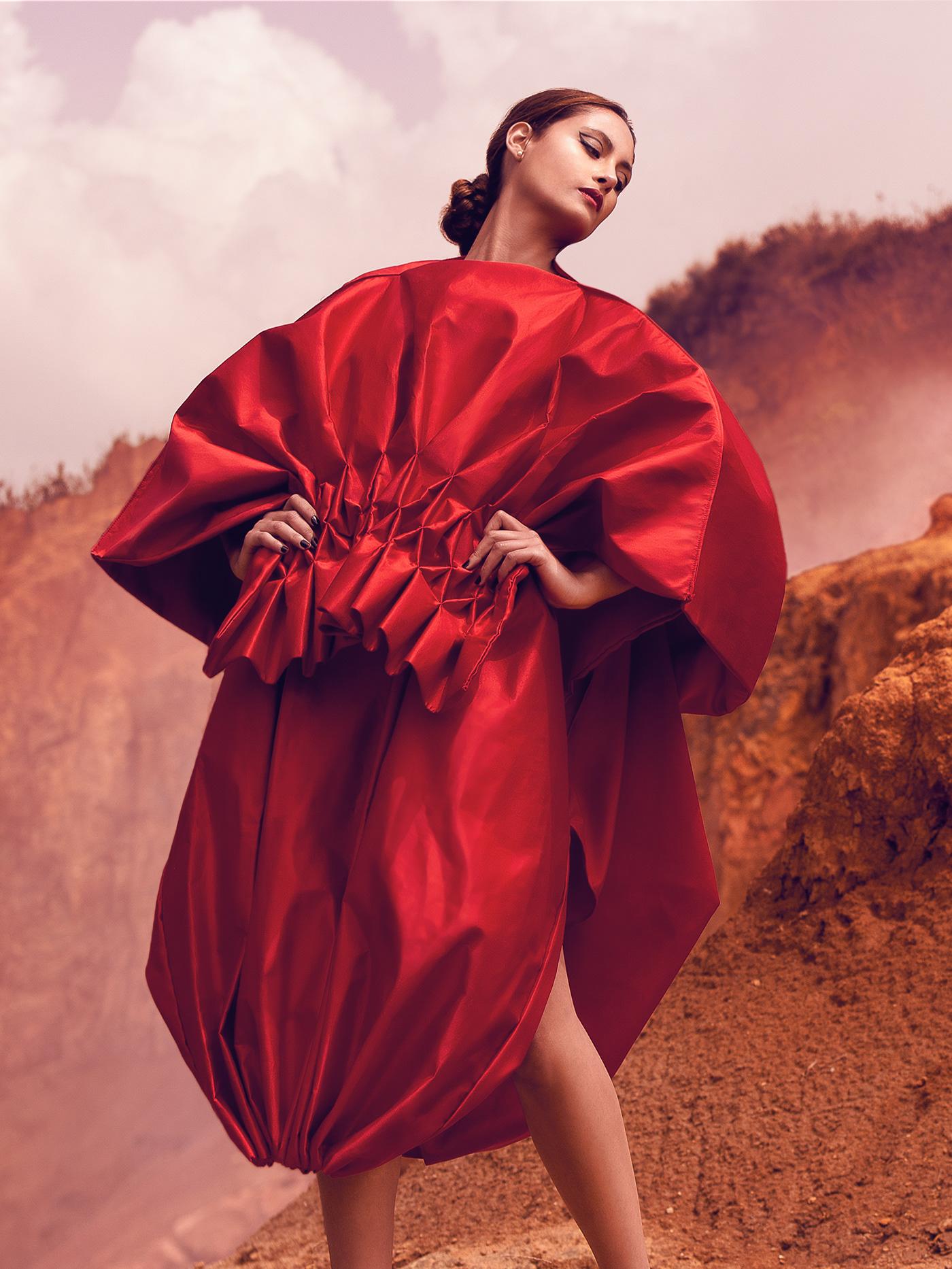 Fashion  Photography  red dress retouching  desert futurist