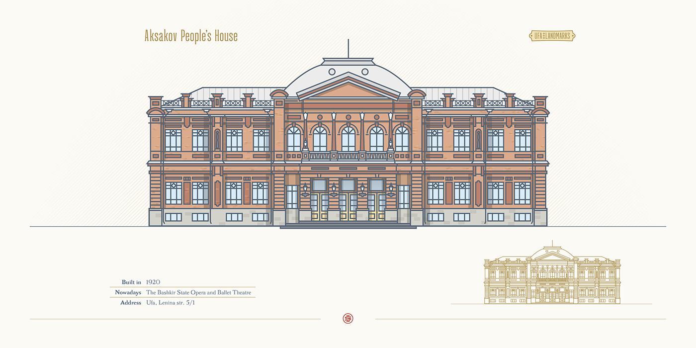 Landmark building line texture Bashkortostan tourism Travel UFA Russia architecture