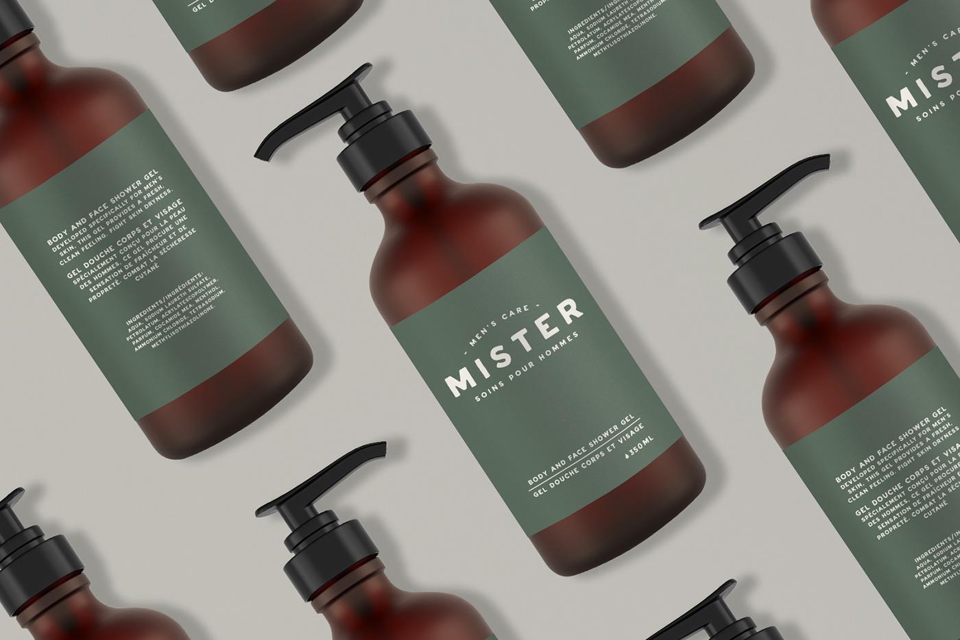 beauty product Beauty Product Packaging branding  Cosmetic green logo men men's care men's cosmetic packaging design