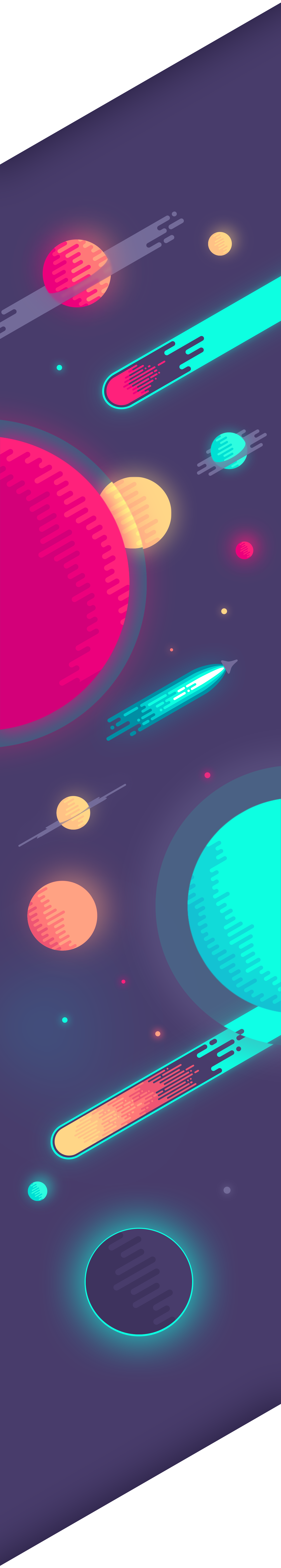 poster Space  sci-fi meteor Planets geometric print wallpaper free download background universe