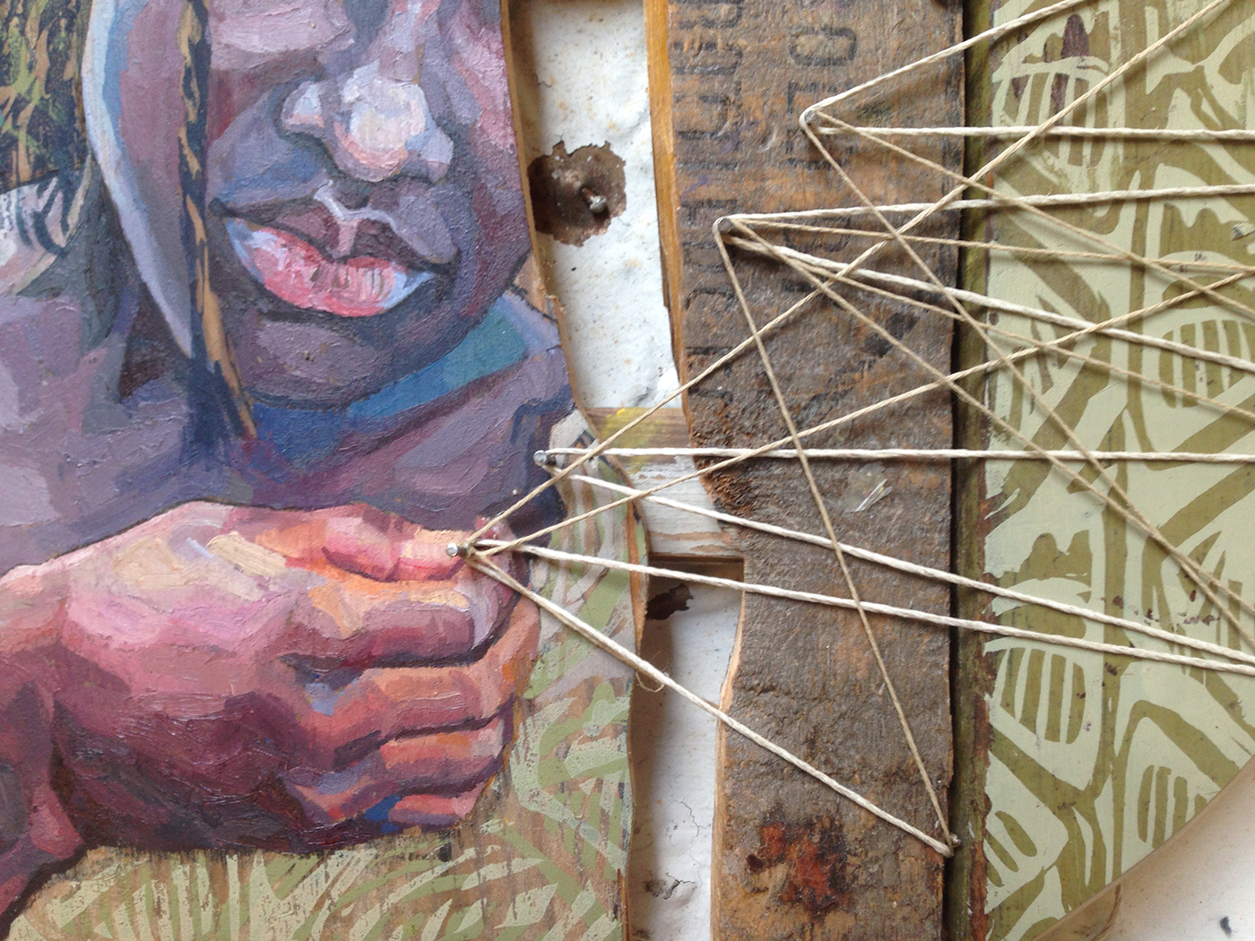 recycle portrait people string found object Assemblage africa black wood upcycled children oil Screenprinting