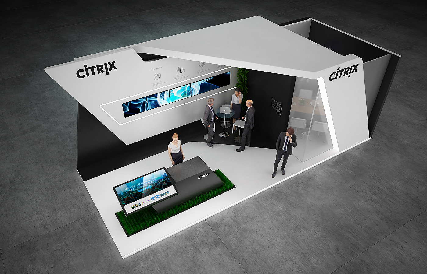 exhibitioon stand stand design gm stand design it stand IT exhibition technology Citrix gm design group booth high-tech exhibition stand