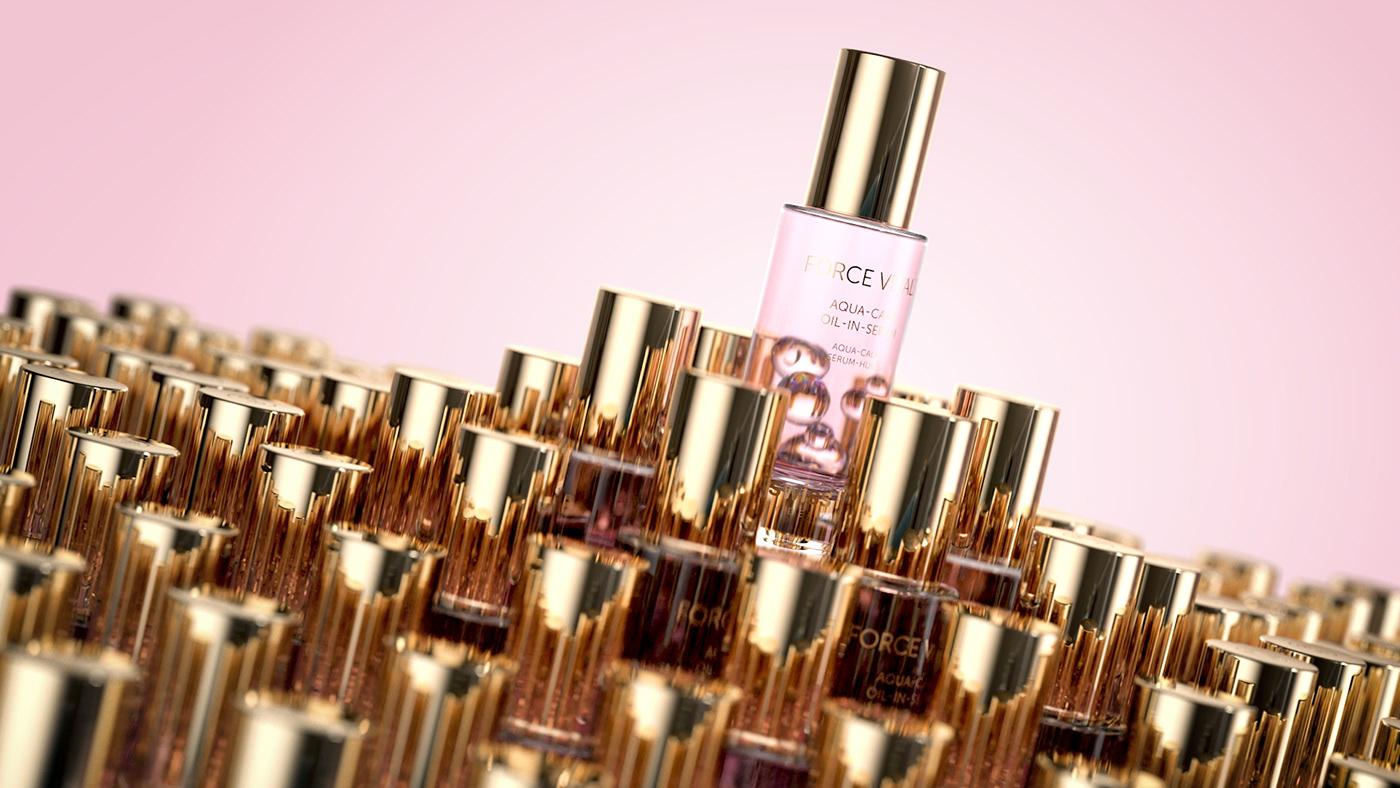 bubbles CGI cinema4d cosmetics gold luxury octane pink Render