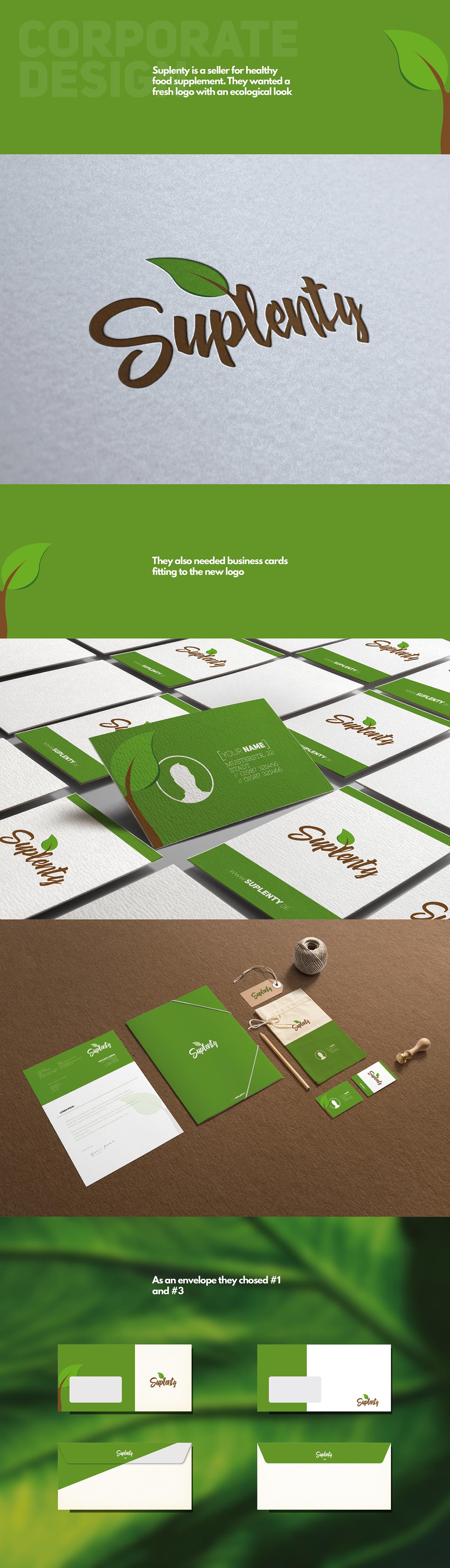 Corporate Design Business Cards Stationery envelope food supplement Logo Design leaf