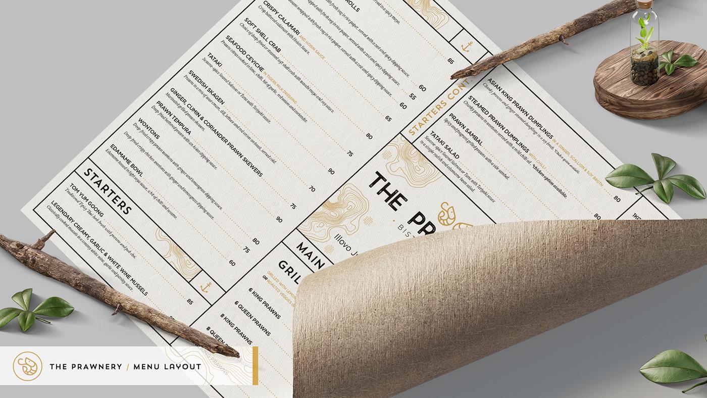 Menu design for the Prawnery bistro and bar