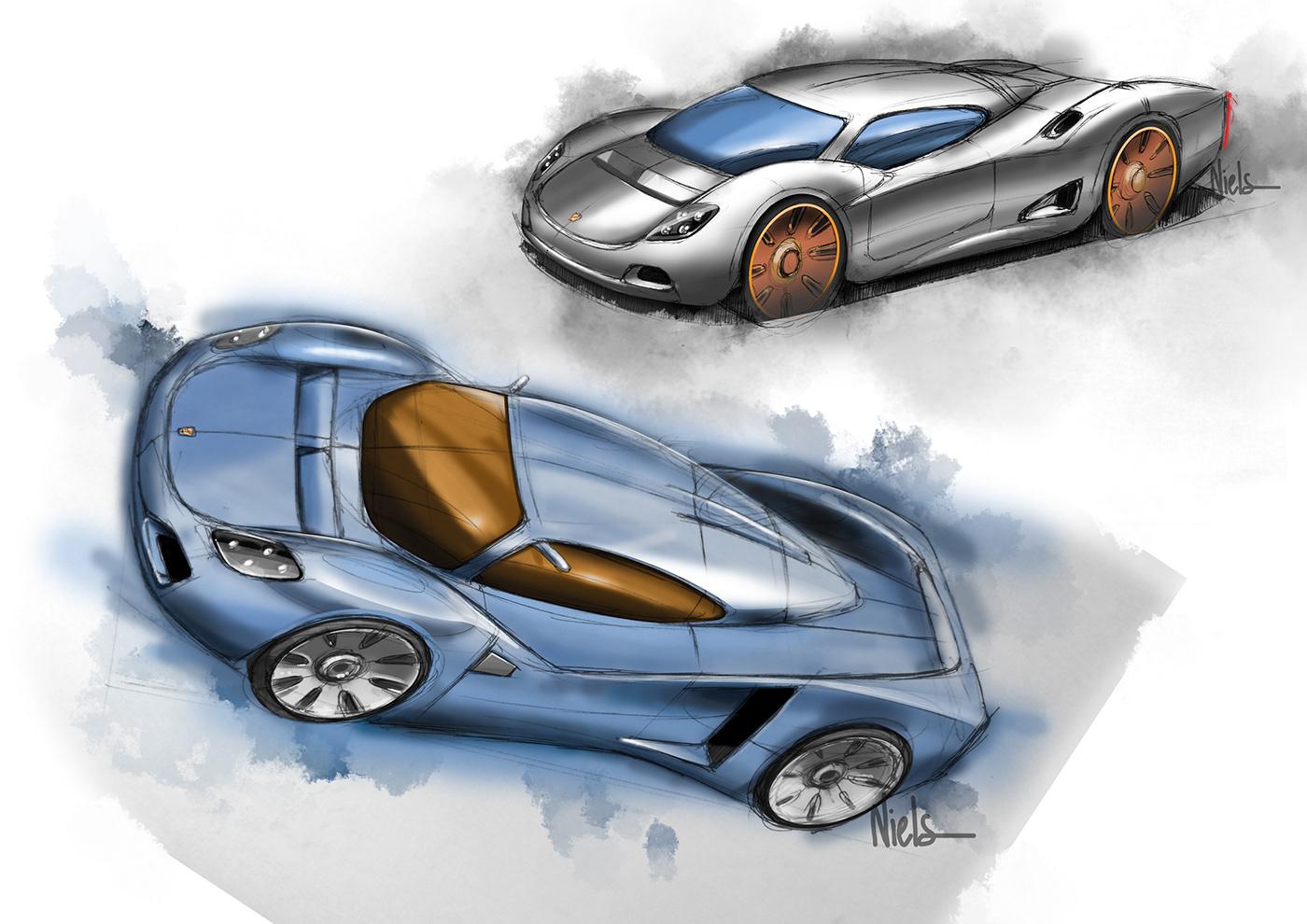 automotive   car cardesign design designsketch Drawing  Porsche sketch sketchbook