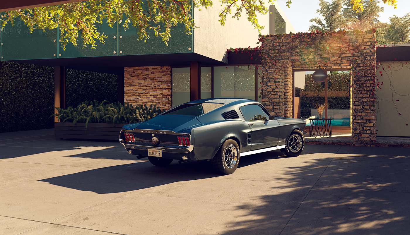 photorealistic CGI Render retouch design house Mustang