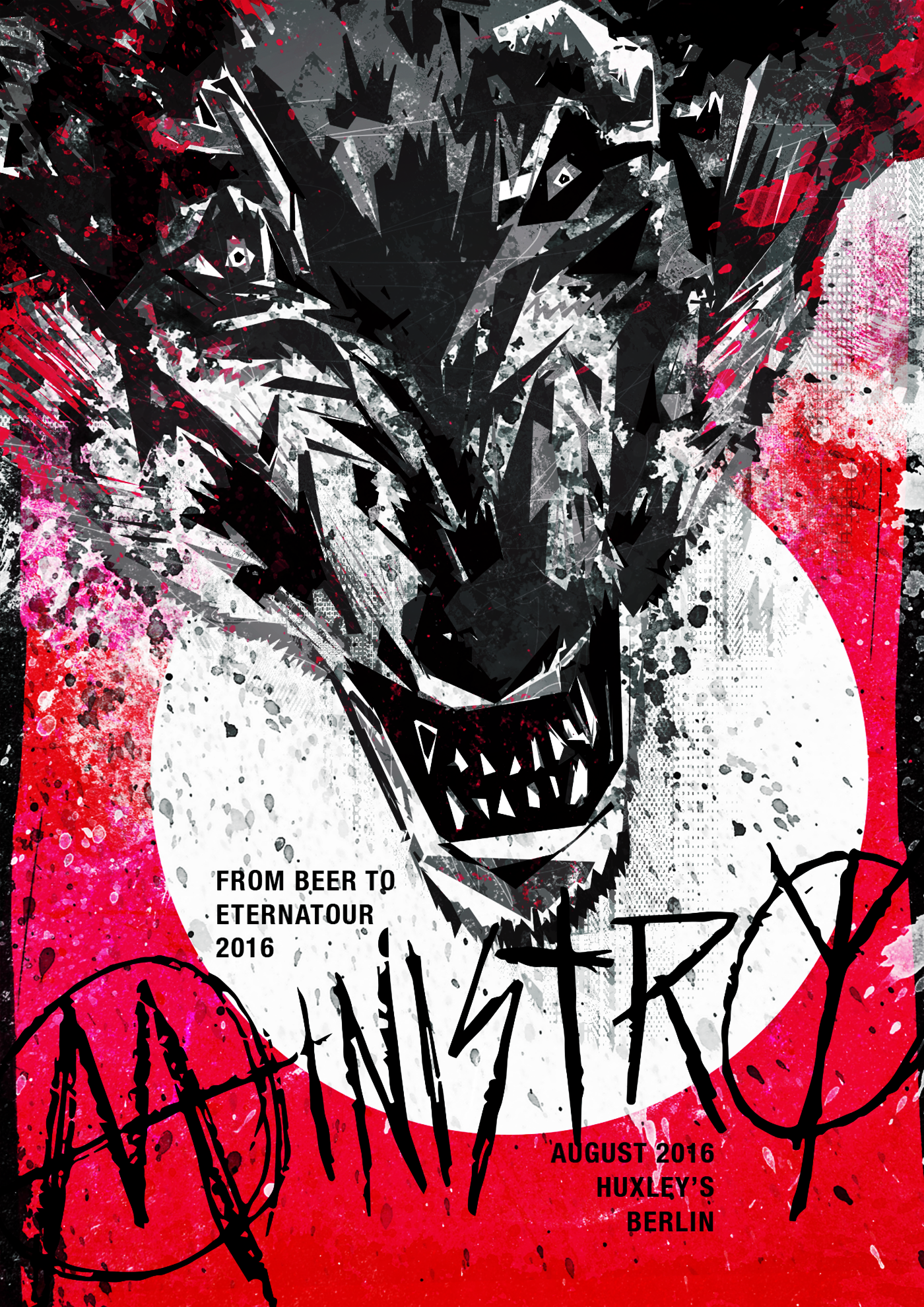 Ministry berlin poster music ILLUSTRATION  graphic design  grunge industrial dirty wolf