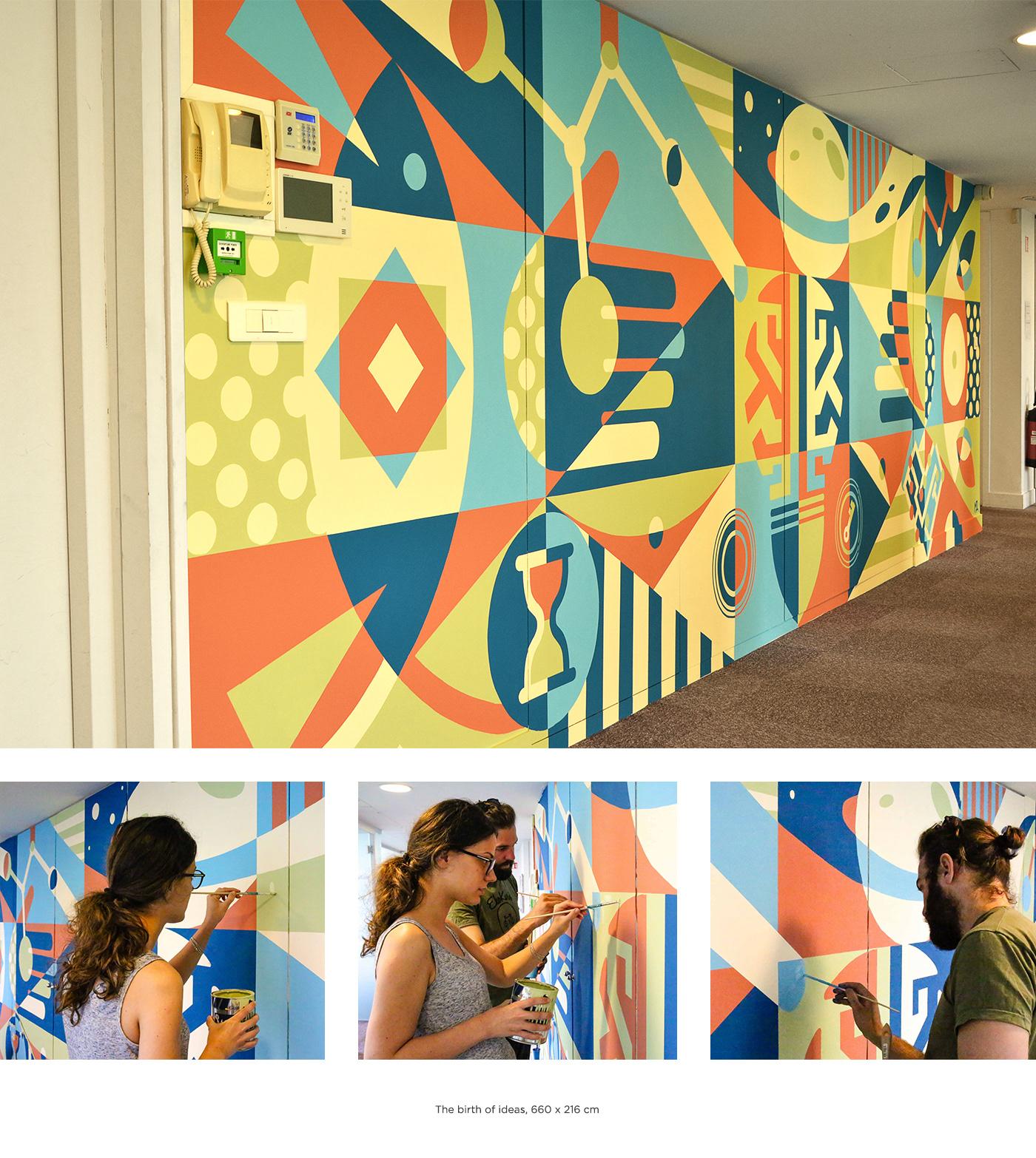 Mural painting   Graffiti paint wall Technology Nature Space  handmade brush