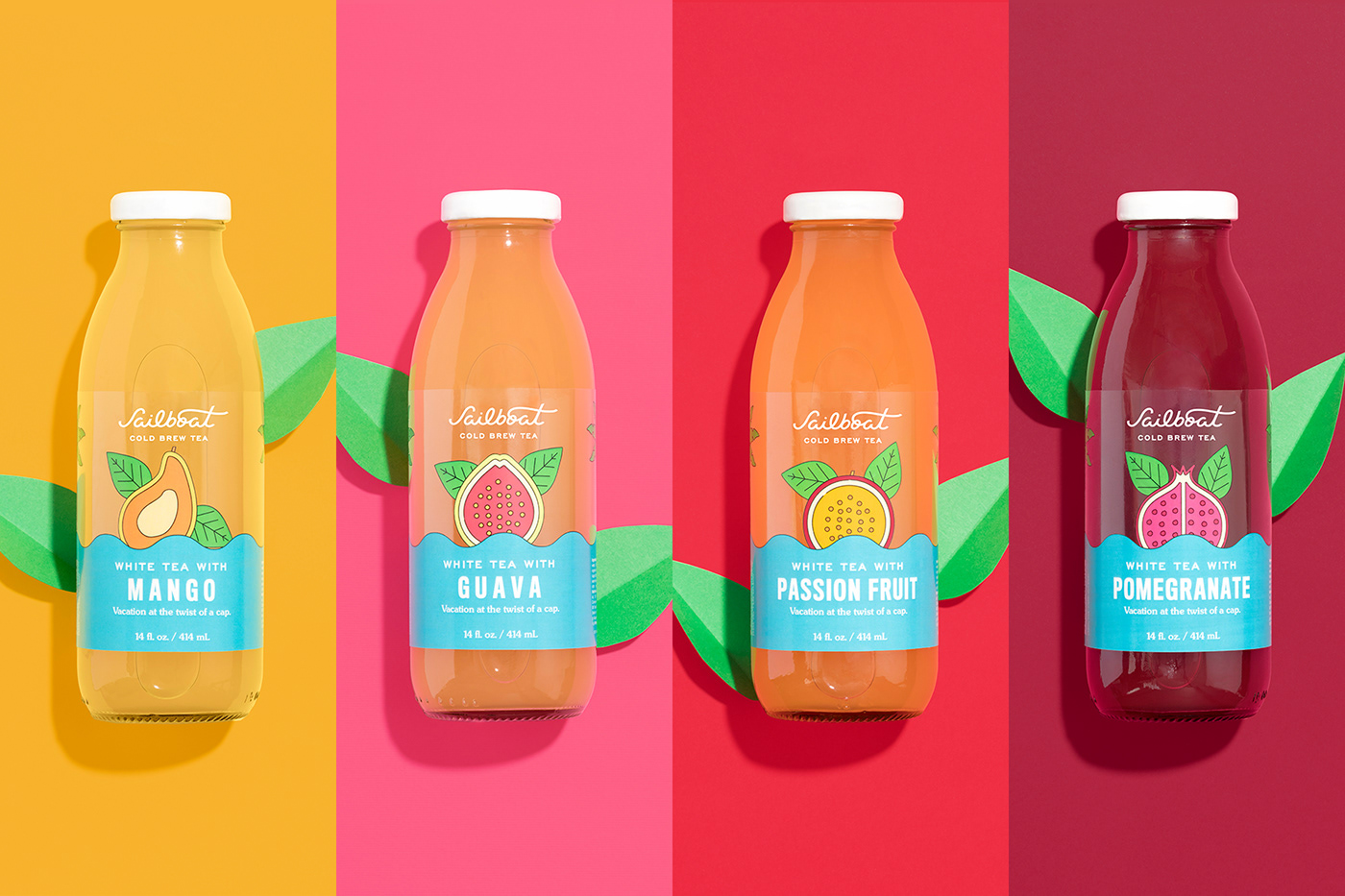 beach brand identity branding  Cold Brew colors design fruits tea Tropical vacation