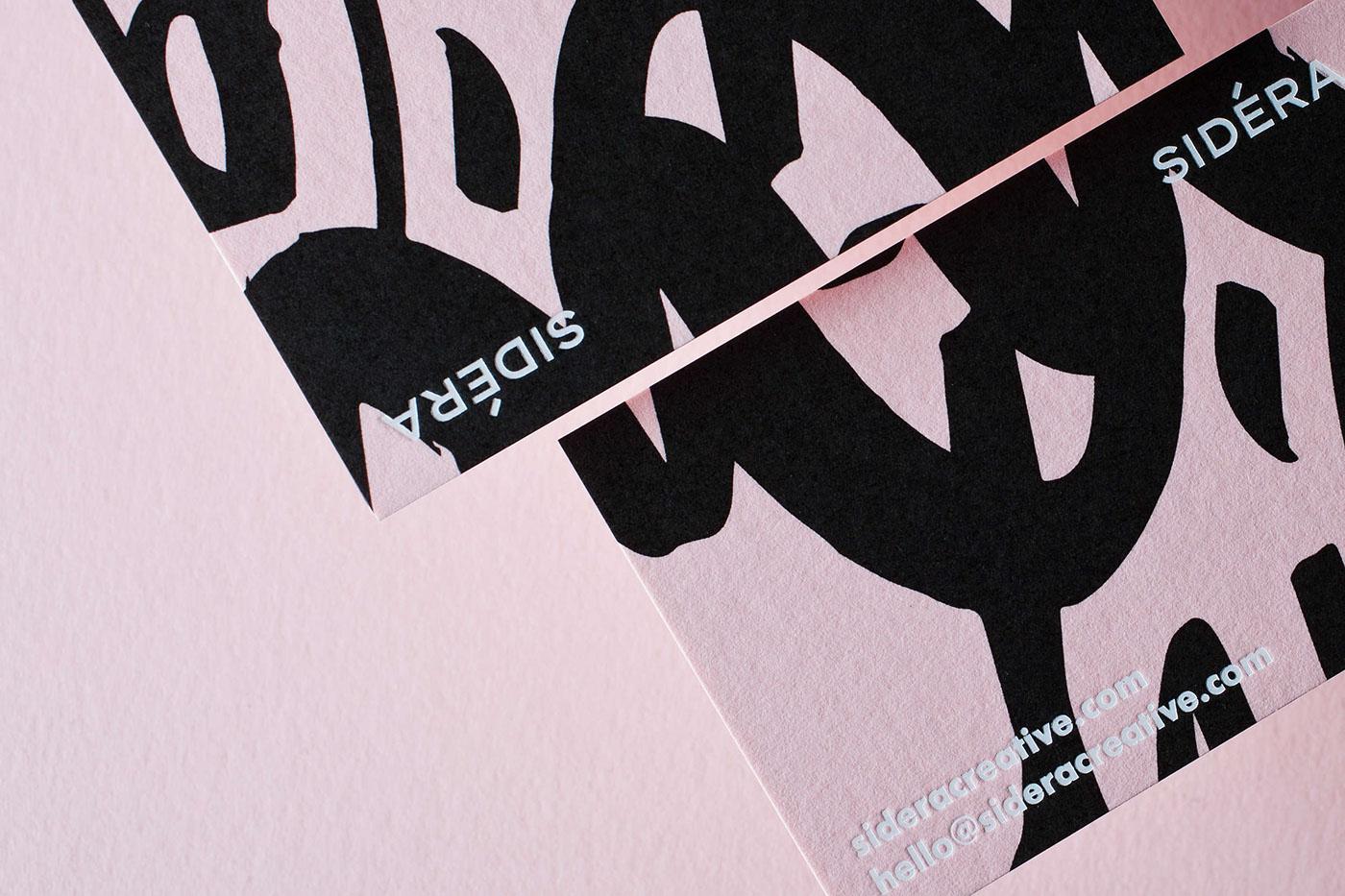 black White pink sideracreative businesscard letterpress Russia branding  graphic design  silkscreen