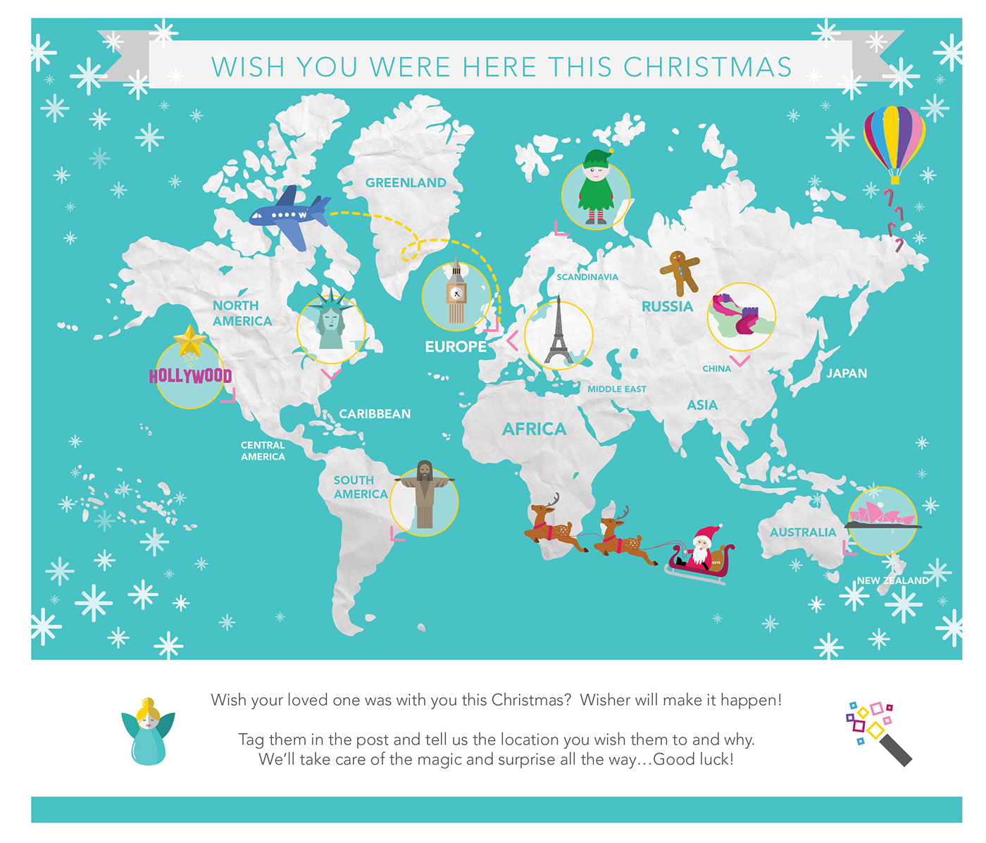 going hand in hand with this work was the creation of a fun christmas themed map highlighting various landmarks and holiday destinations