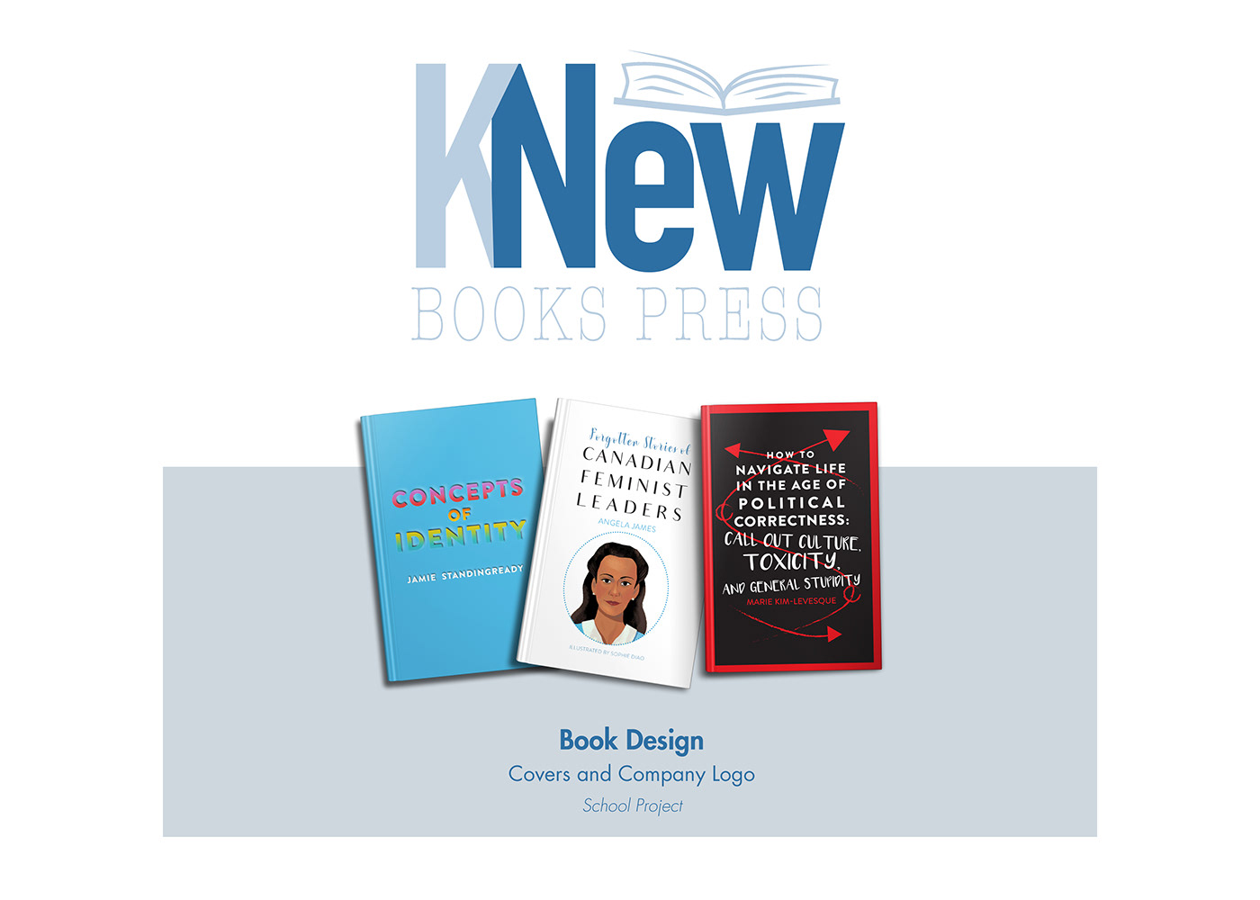 KNew Books Press Book Design  Covers and Company Logo School Project
