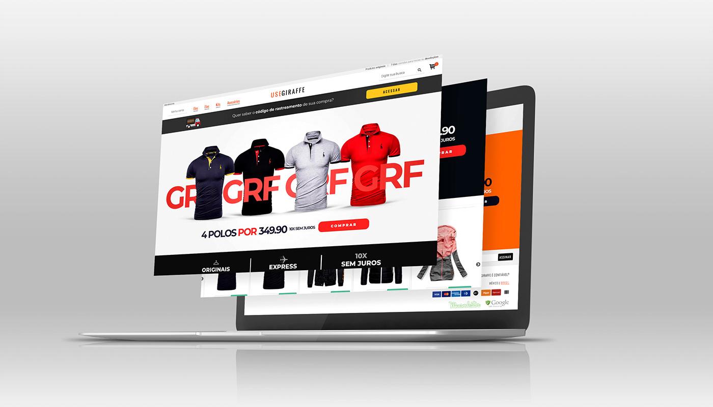 banners e-commerce Ecommerce home motion graphic photoshop projeto de website usegiraffe Web Design