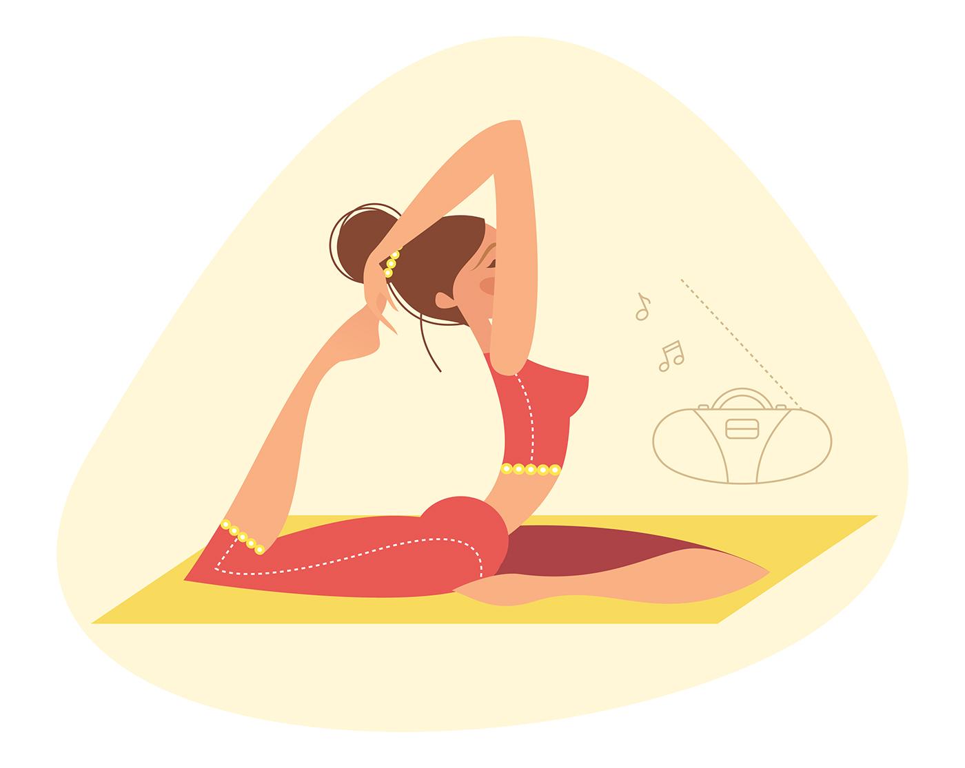 Рисованные картинки йога
