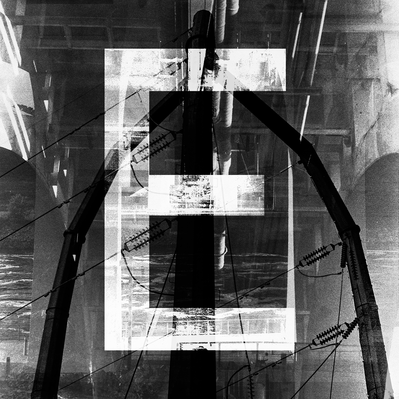 Capital E Photographic Illuminated letter. Film photograph with digital manipulation.