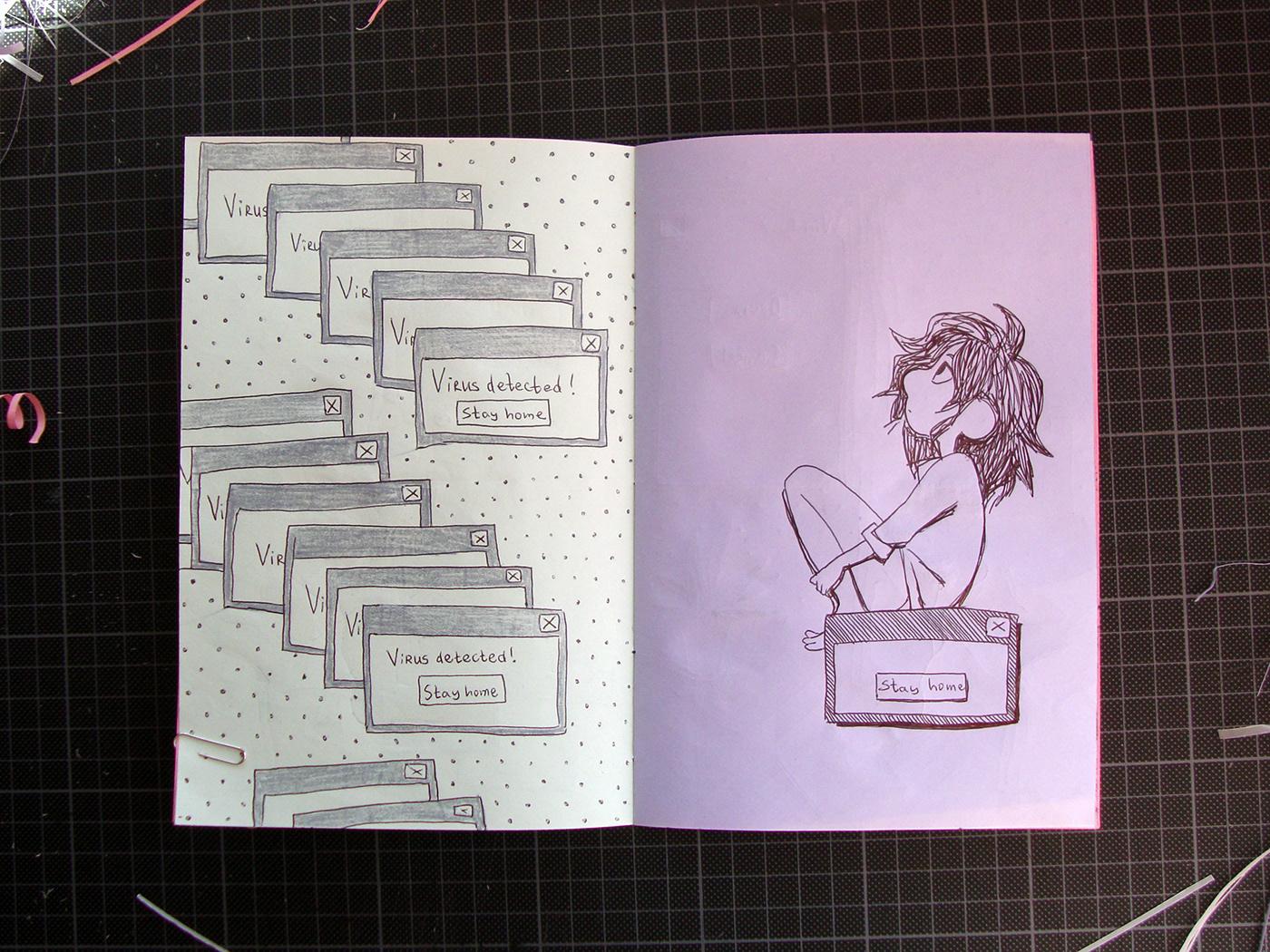 ballpoint pen cartoon notebook sketchbook Visual Diary Zine