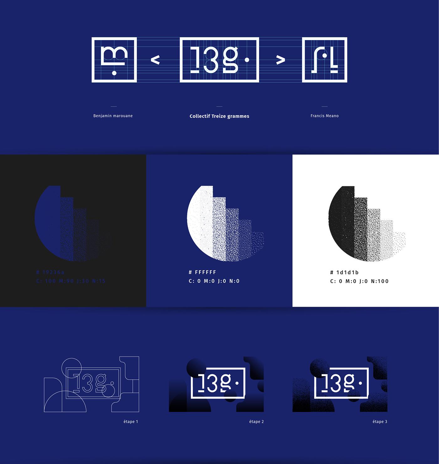 Treize grammes 13g graphic design  graphisme design graphique identité visuelle Logotype direction artistique art direction  graphiste Marseille