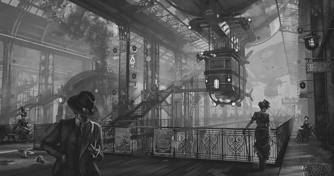 concept art conceptart Digital Art  environment art historical ILLUSTRATION  STEAMPUNK Victorian Visual Development zeppelin