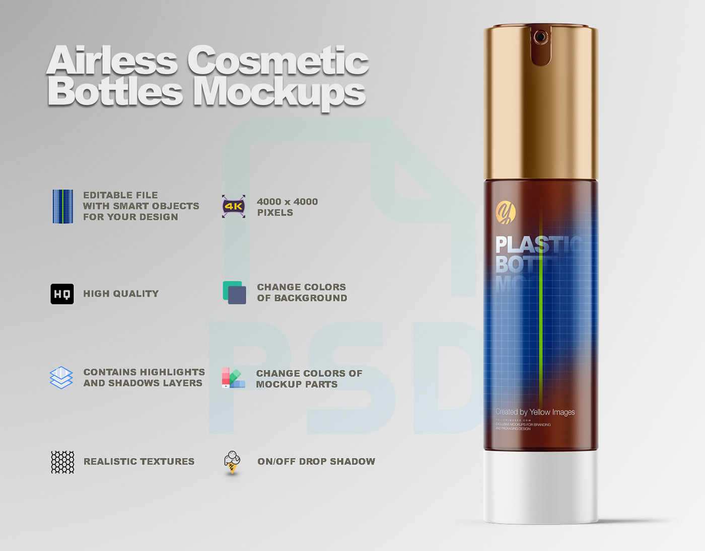 Download Airless Cosmetic Bottles Mockups On Behance PSD Mockup Templates